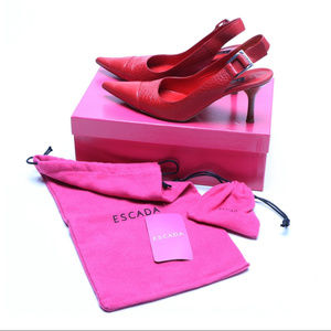 Red Escada Leather Slingback Heels Size 7.5